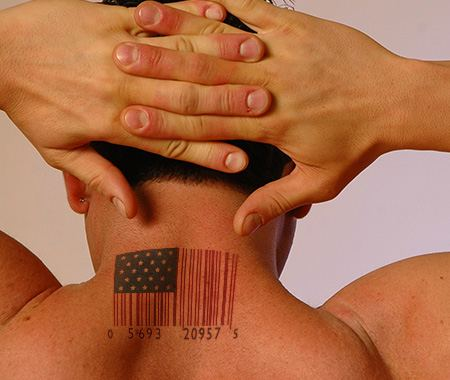 American-flag barcode tattoo