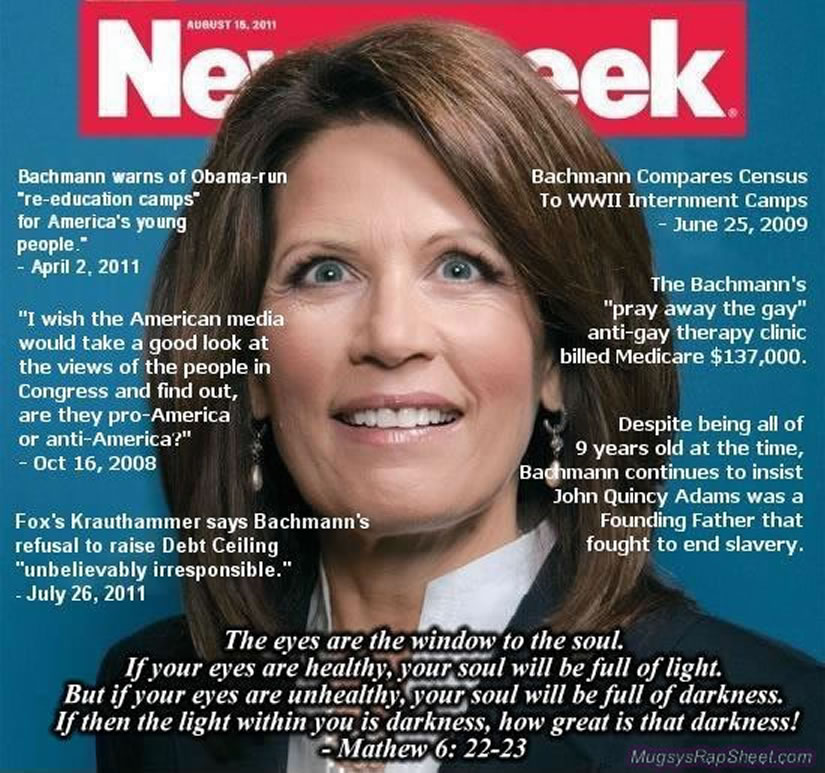Bachmann's Newsweek cover with her Greatest Hits tossed in.