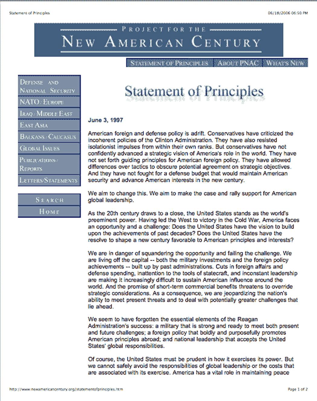 PNAC homepage - 1997