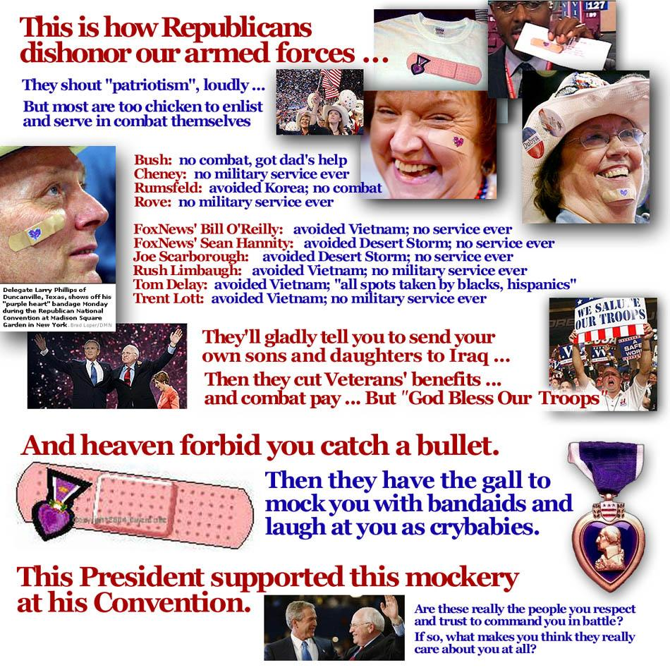 RNC Conventioneers mocking John Kerry's Purple Heart