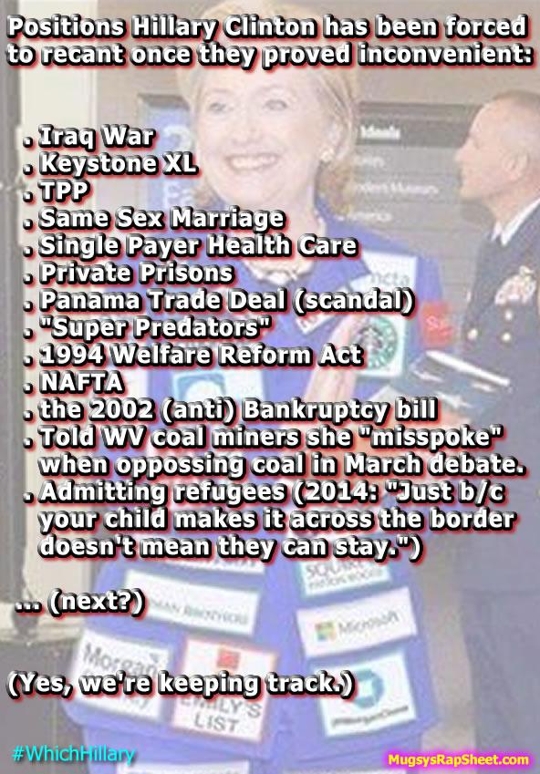 Hillary's Conservative flip-flops