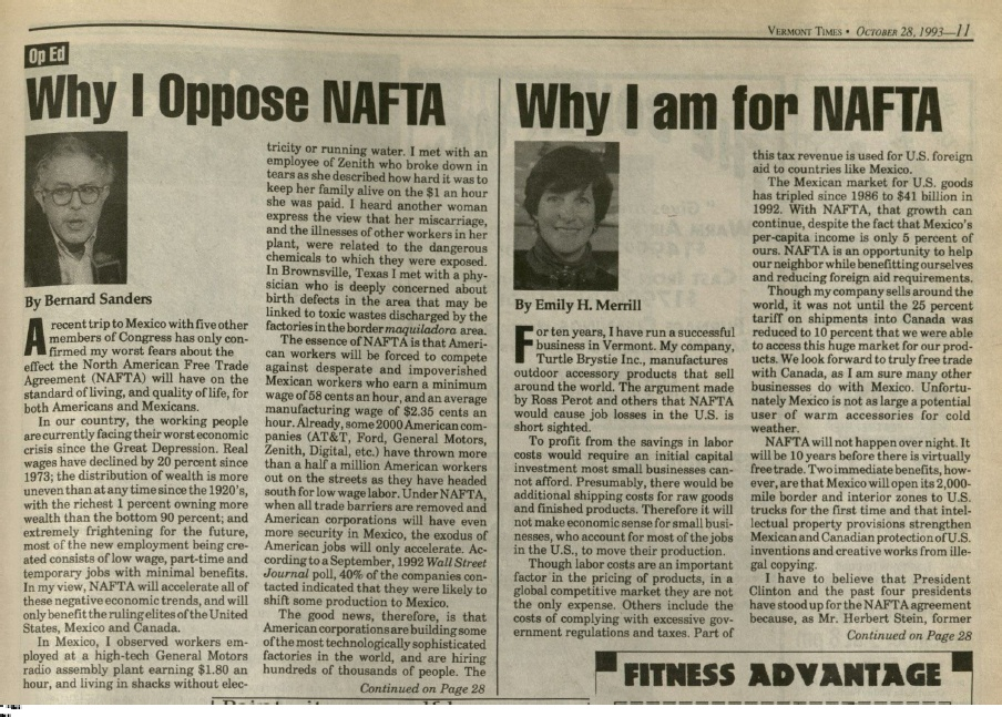Sanders on NAFTA