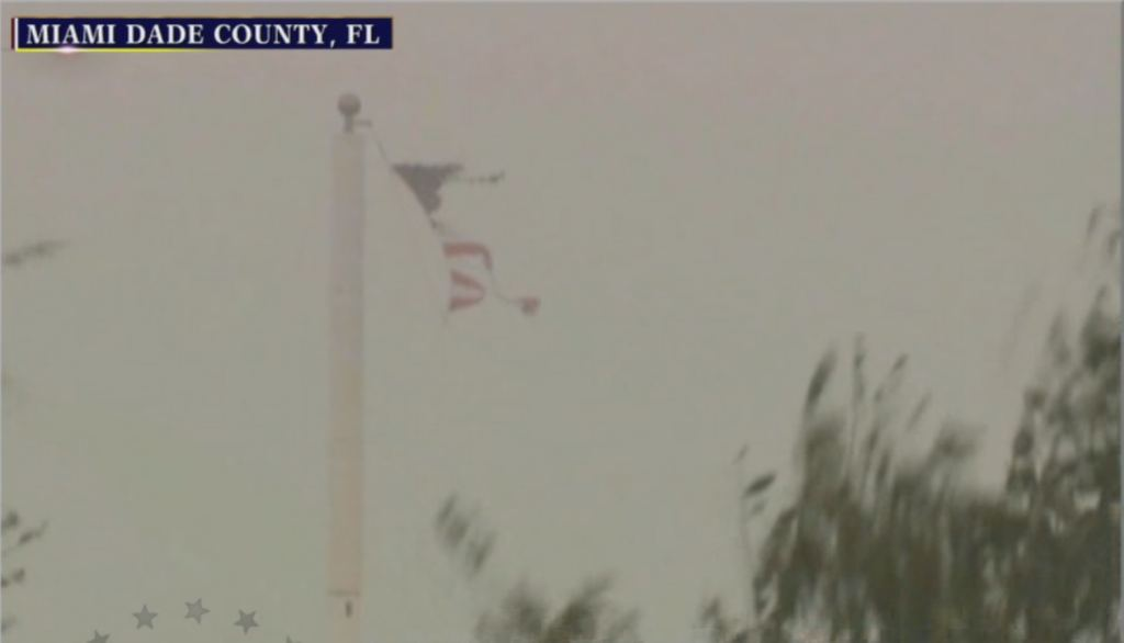 Flag tattered by Irma.