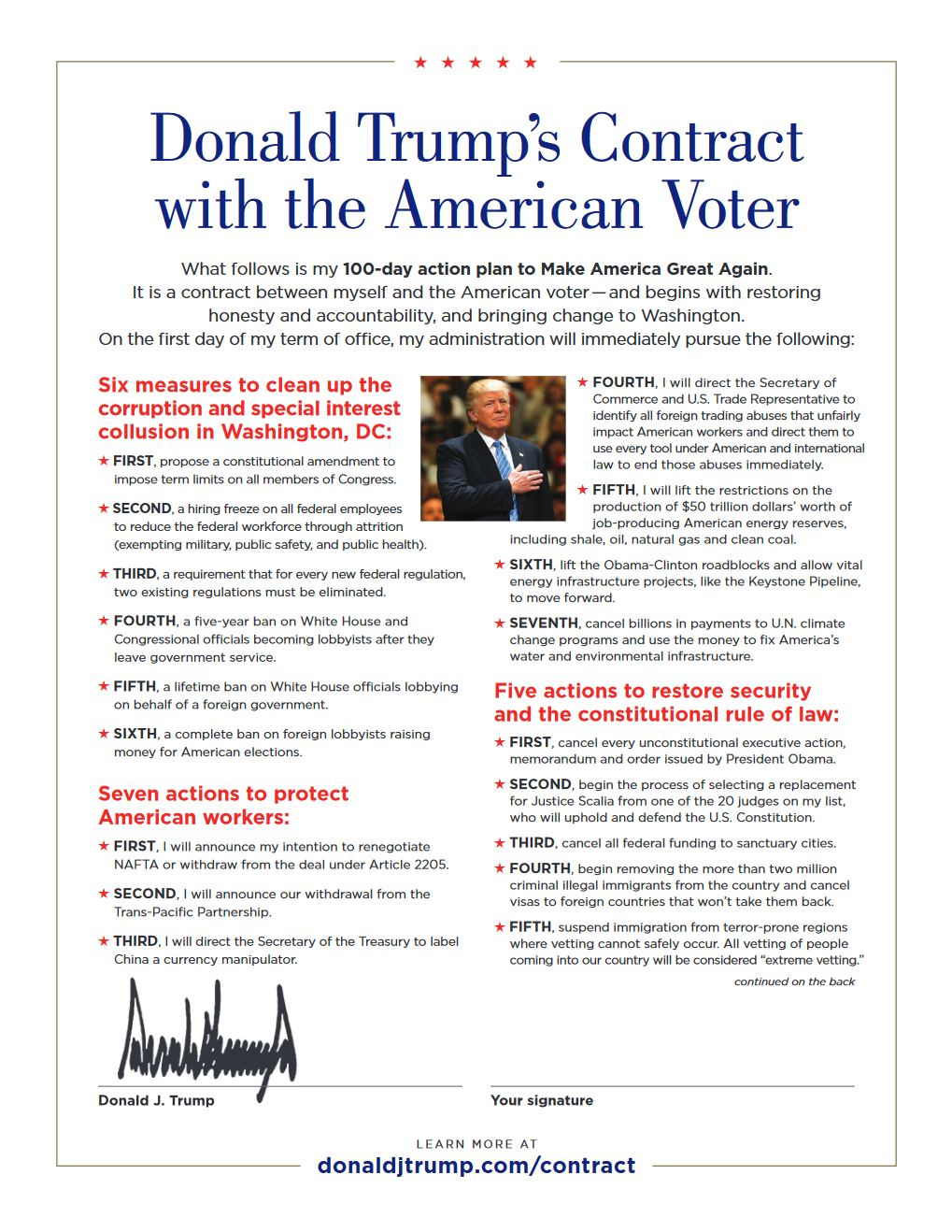 Trump Contract (front)